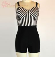 Geerdance Black and white vertical striped corset style bodice with black booty shorts attached, 15U0022