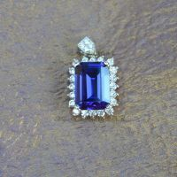 Synthetic Tanzanite Square Shape Pendant 925 Pure Silver Fashion Luxury White Gold Plated Vintage Gift