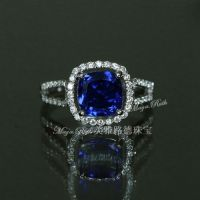 Created Sapphire Ring Blue Color Princess Square Shape 925 Sterling Silver White Gold Plated Fashion Women Gift