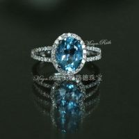 Swiss Blue Topaz Natural Crystal Pigeon Eggs Gem 925 Sterling Silver White Gold Plated Luxury Elegant