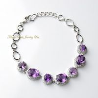 Natural Amethyst Bracelet 925 Sterling Silver White Gold plated Micro Setting Luxury and Elegant Women's Gift
