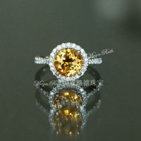 Natural Citrine Ring Crystal  Yellow Round Gem 925 Sterling Silver White Gold Plated Luxury Elegant