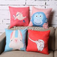 Rabbit and Monkey ---Let's enter into the geometry animal world Mineral Nano Crystal Cotton & Linen Pillow
