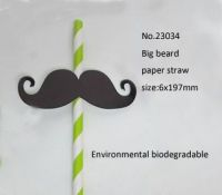 Biodegradable eco-friendly paper straw , printed, theme products for party and festival