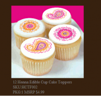 Henna Edible Cup Cake Toppers