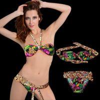 Hot Women's Leopard Bikini Bandeau Top & Bottom Set Swimwear Swimsuit