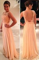 Wholesale Peach Prom Dresses Sheer Lace Chiffon A-line Pageant Bateau Open Back Floor Length Party Gowns From Babyonlinedress