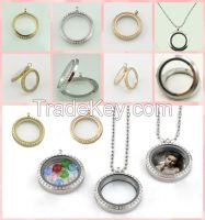 316l stainless steel wholesale floating glass round brass locket