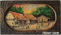 BEAUTIFULLY HAND PAINTED VILLAGE SCENERY ON WOOD