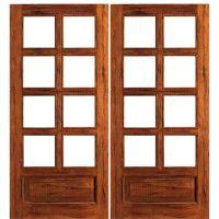 French Double Door   Double Door with Panel Bottoms, 8 Lite Solid Rustic