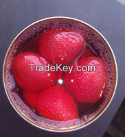 canned strawberries in heavy syrup
