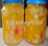 fruit cocktail in glass jar with high quality