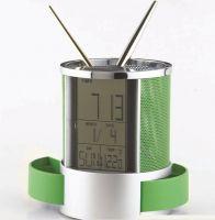 Plastic Pen Holder With Clock table pen holder