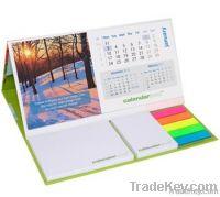 Promotional desk calendar with sticky notes