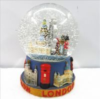 custom resin glass snow globe for london