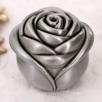 Resin antique silver rose jewelry box