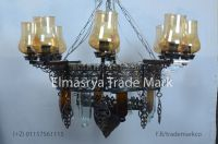 Two tiers Brass chandelier - With Multiple Color Glass - Chandelier Lighting - # Ch-106