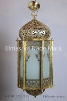 Handmade Moroccan Style Brass Lantern with White Colored Glass - Chandelier Lighting - # CH 101