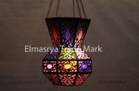 Handmade Oxidize Brass Lantern Lamp Lighting - With Multiple Color Glass - Chandelier Lighting - # CH-103
