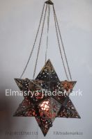 Handmade arabic Style Brass Star Lamp With Multiple Color Glass - Chandelier Lighting - #CH 102