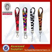 Silk screen Woven keychain short lanyard with carabiner hook china wholesale
