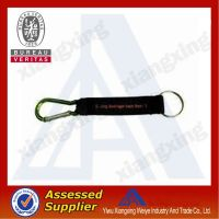 Hot new products for 2014 leather short lanyard with carabiner hook&PVC patch