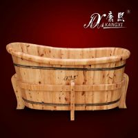 Retro design wooden bathtub suitable for human body, low oval bathtubs prices, hot tub