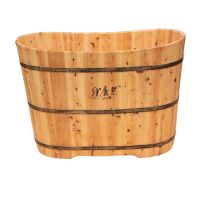 Deep Cedar bath crock suitable for soaking