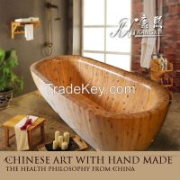 good quality Cedar wood 2 person soaking bathtub
