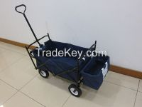 Blue Folding Wagon 600D Polyester Fabric Steel Frame Camping Beach