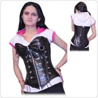 Real Leather Overbust Steel Boned Corset Bustier Ci-1217