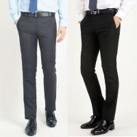 New Business Style Straight Type Men's Slim Trousers Suit Pants - Gray / Black