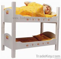 Wooden doll's bunk bed