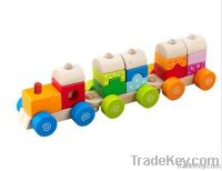 Top quality wooden pull toy along train for kids