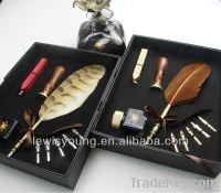natural feather pen set for wedding gift set