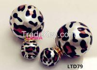 Fashion  girl round shape double side earrings LTD79