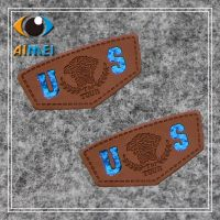 Custom leather tags with stamped foiled logo for Clothing Jeans PU leather label custom brand name Leather Garment Labels key label tags for handwork