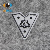 Garment accessories leather brand patch clothes pants English digital printing HBAKZ white yellow rectangle