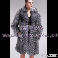 27571A Genuine Silver Fox Fur Coat Women