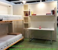 Space saving double wall bed with bookshelf and office table