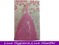 Reusablecolor bag color box 100%medical silicone women menstrual cup for wholesale