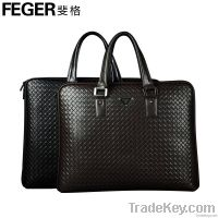 2014 New DesignWoven Pattern Leather Briefcase Bag