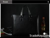 2014 New Design	Woven Pattern Leather Briefcase Bag