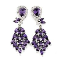 Chandelier earrings zircon brass rhodium plating jewelry