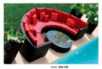 Modern garden rattan red and black sofa set for cheap sale