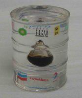 acrylic oil barrel with oil drop inside