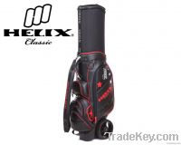 Helix Leather Golf Cart Bag with Bigger Wheels