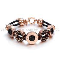 Missherr fashion jewelry stainless steel leather bracelet