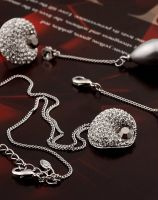 Neoglory Czech Rhinestone Simulated Pearl Jewelry Sets Pendant Necklace & Drop Earrings