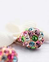 Neoglory Czech Rhinestone Drop Earrings Colorful Ball European Style